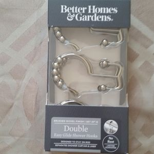 Double Shower Curtain Hooks Set of 12 Nickel